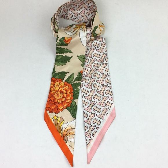 Floral & TB Monogram Print Skinny Silk Scarf